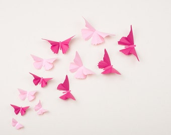 Pink Butterfly Wall Decor, Nursery Decor, Wedding Decorations, Light Pink & Fuchsia Metallic Decals
