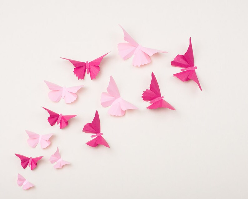 Pink Butterfly Wall Decor Nursery Decor Wedding Decorations image 0