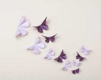 3D Wall Butterflies: Butterfly Wall Art for Nursery, Girl's Room, Wedding and Home Decor in Wisteria & Plum Metallic