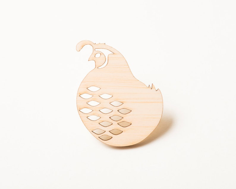 Bird Brooch Bird Pin Quail Pin Wood Jewelry image 0