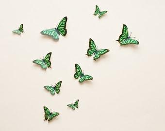 3D wall butterflies: Butterfly wall art, illustrated Oaxacan-style butterflies in clover green, spring decor