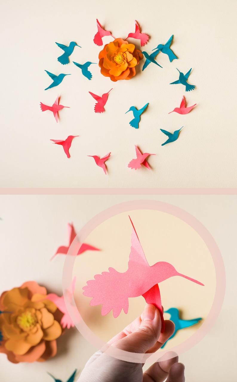 3d Hummingbird Art 3D Bird Wall Art Wall Birds Set image 0