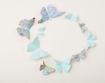 3D Wall Butterflies: Butterfly Wall Art for Nursery, Girl's Room, or Home Decor in Mint & Teal Script