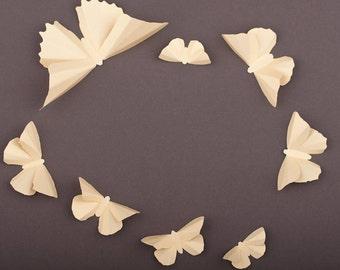 3D Wall Butterflies, Vanilla Metallic Butterfly Silhouettes for Girls Room, Nursery, and Home Art Decor