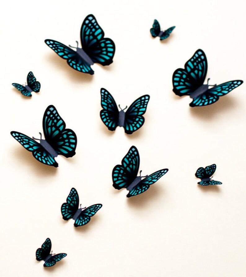 3D butterfly wall art: green 3d wall butterflies paper image 0