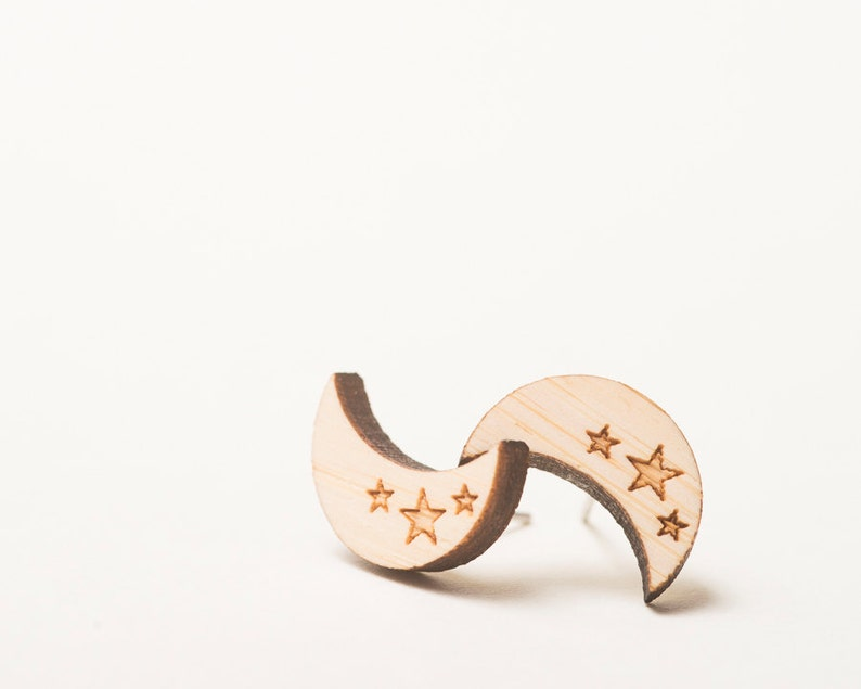 Crescent Moon and Stars Wood Earrings Blonde Bamboo with image 0