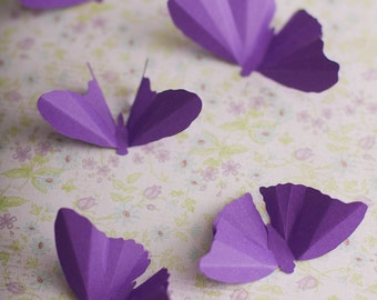 Purple Butterfly Baby Shower, Butterfly Nursery, Party Decorations, 3D Wall Butterflies, Ultraviolet