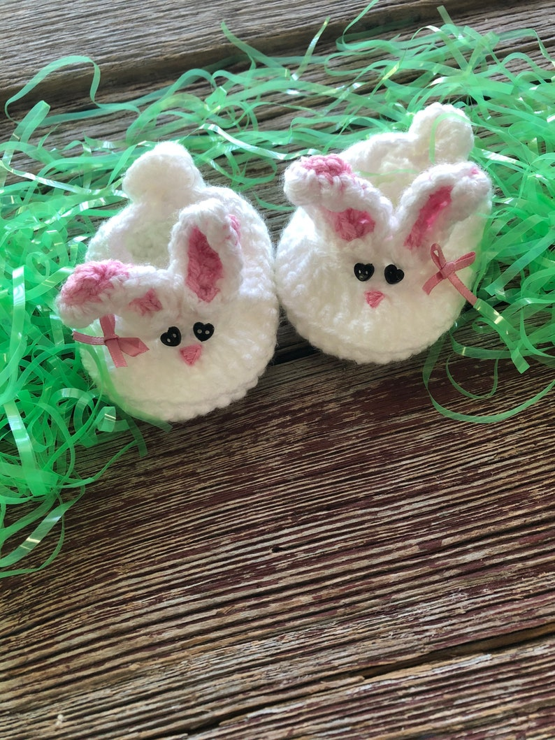 Crocheted Baby Bunny Booties with Bow