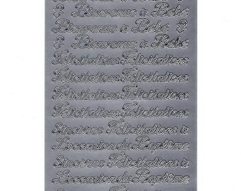 505 - Sheet of silver birth and christening stickers