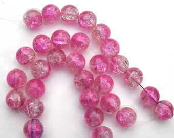212 - Set of 10 pink and white 12 mm Crackle glass beads