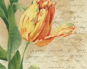3192 - Flowers yellow tulips napkin