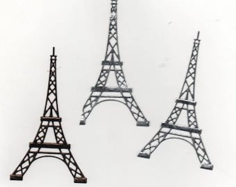 94 - Set 3 cutouts eiffel tower for your cards or scrapbooking