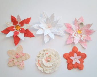 Cut 1 - Set of 6 flowers for your embellishments