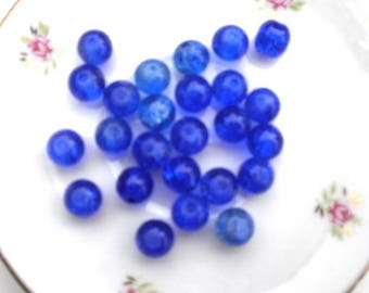 173 set of 10 8 mm blue Crackle glass beads