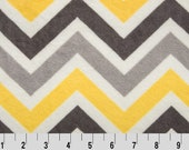 ZIG ZAG Cuddle Shannon Fabrics in lemon, silver, charcoal, and white