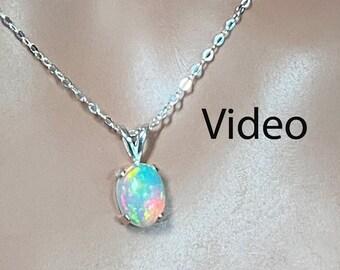 Sterling Silver Necklace Fire Opal Ethiopian Fire Opal Necklace 2.21 Carat Extreme Fire  11.2 x 9 mm Natural AAA++