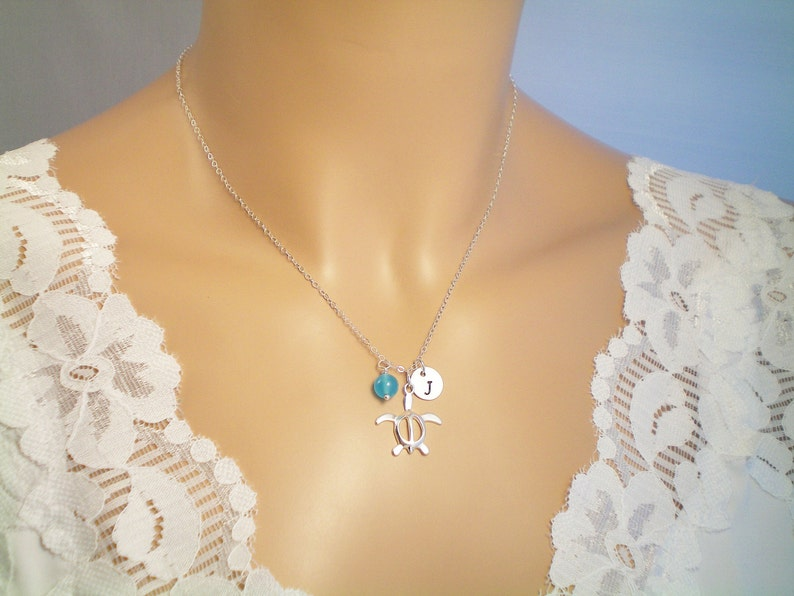 Sea Turtle Sterling Silver Necklace Gem or Pearl Choice Personalize Birthstone Gems Beach Wedding Ocean Charm Necklace