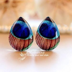 20/% off 4pcs Handmade Teardrop Photo Glass Cabochon 18x25mm Green Leaf Cabochon Resin Charm TD412