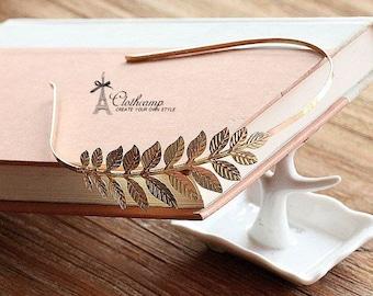 2 Pcs Gold  Plated Filigree Leaves HeadBand Setting NICKEL FREE (HBSB-12)