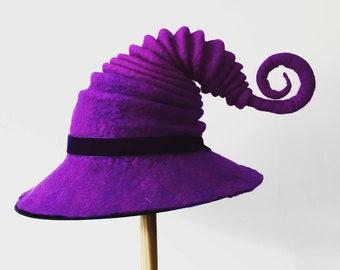 c7fabfaa7b400 Large brim felted witch wizard hat Elf festival headwear fantasy inspired  halloween accessories purple green larp
