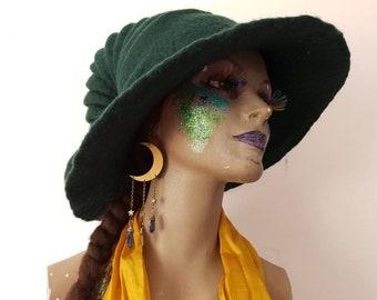 Custom made Large brim felted witch wizard hat Elf festival headwear fantasy inspired halloween accessories