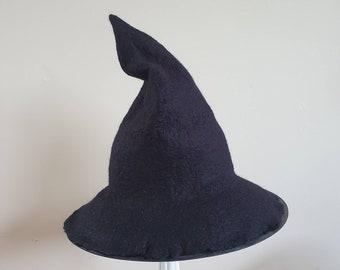 Felted handmade Halloween costume witch hat, felted hat witch wizard Halloween , wiccan, pagan witchcraft Black hat