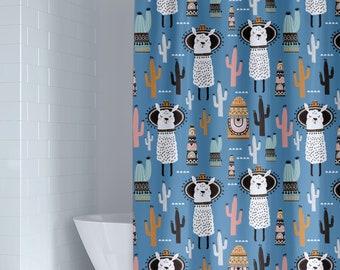 Llama Kids Shower Curtain Unisex Blue Tribal Desert Bathroom Toddler Boy Cactus