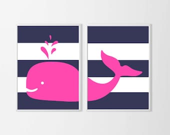 Hot Pink Nursery Art Whale, Beach Wall Decor, Whale Nursery Art Nautical, Whale Nursery Decor, Beach Nursery Decor, Girl Nautical Art Wall