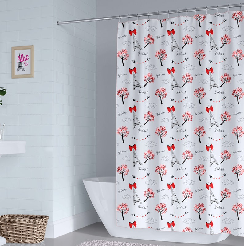 Eiffel Tower Shower Curtain Paris Black White Red