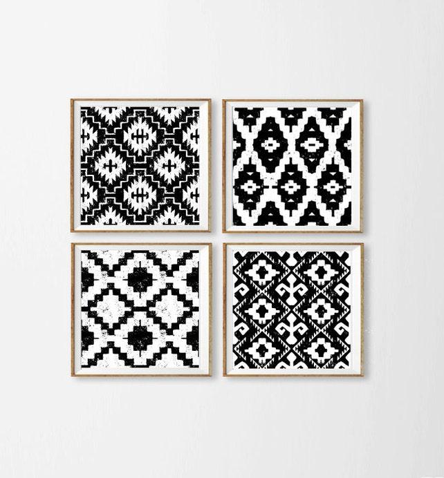 Ikat Art Prints Black and White Wall Art Tribal Diamond | Etsy