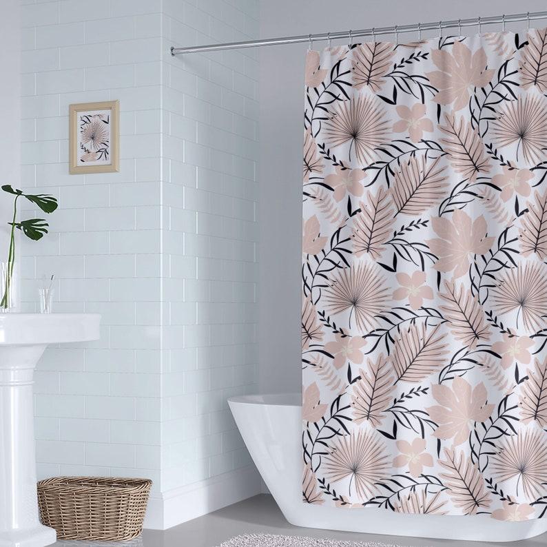 Tropical Palm Shower Curtain, Peach Tropical Bathroom Decor, Shower Curtain  Jungle Leaves, Beach Bathroom Decor Shower Curtain
