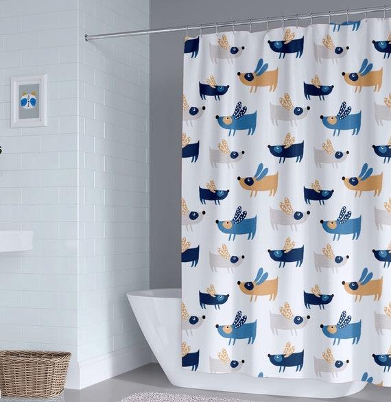 Unisex Dog Kids Shower Curtain Boy Puppy Dogs