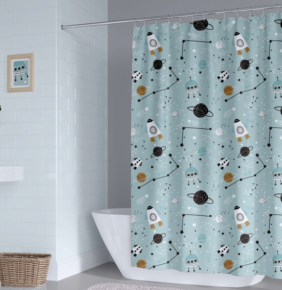 Space Kids Shower Curtain Boy Planets
