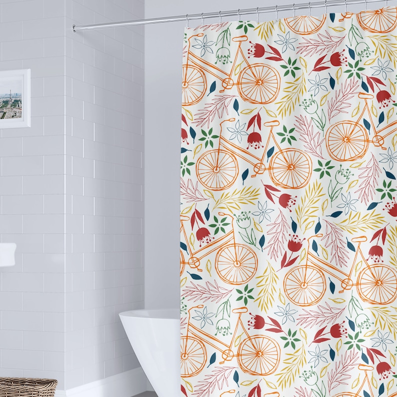 Bicycle Shower Curtain Orange Autumn Tree Print for Bathroom