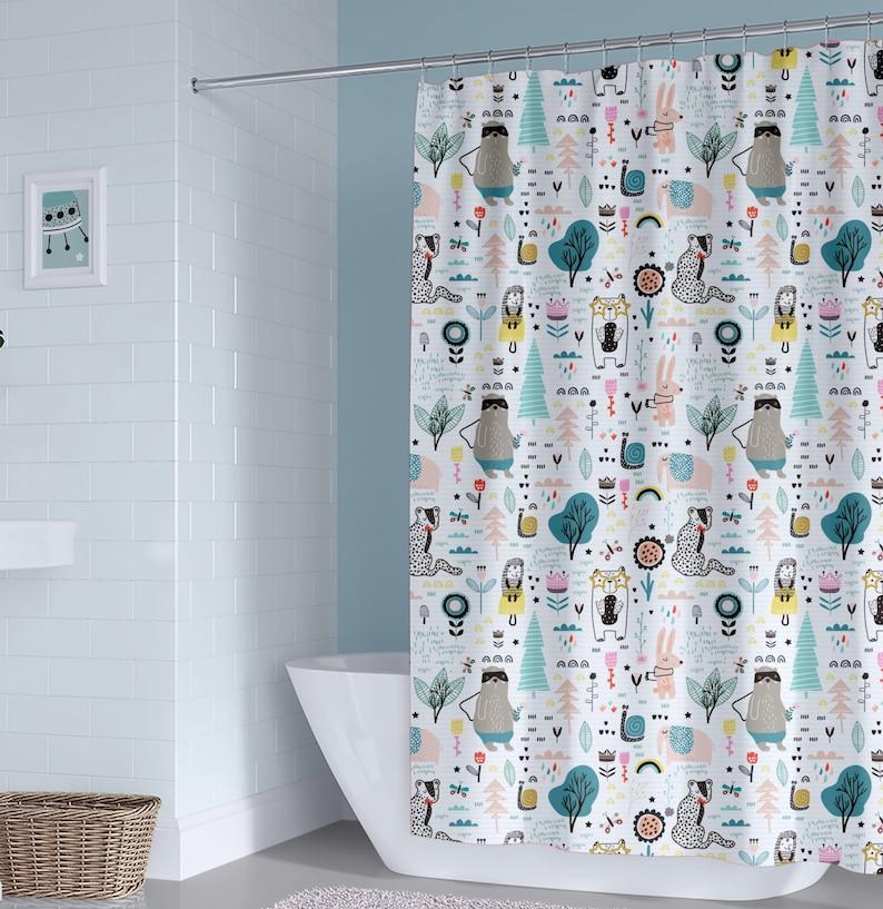 Unisex Kids Shower Curtain Boy Animals