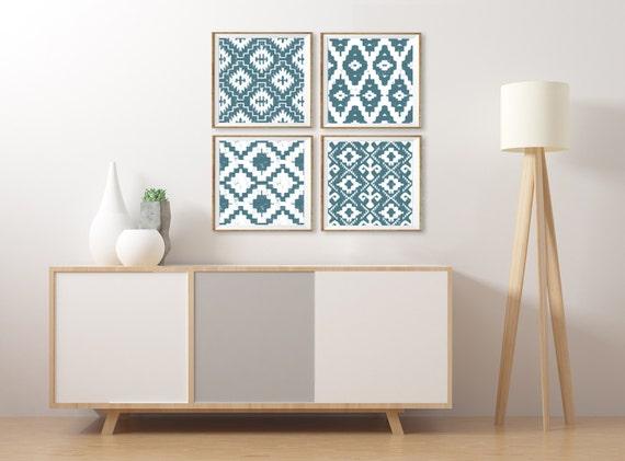 Ikat Wall Art Southwestern Artwork Set of 4 Square Prints | Etsy