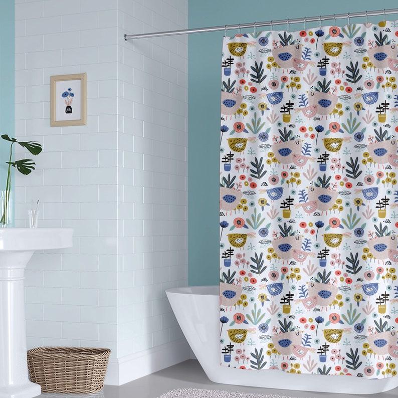 Floral Birds Kids Shower Curtain Girl Bathroom