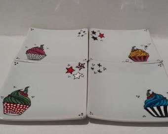 SALE : Cupcake, handpainted small square plate (choose your color)