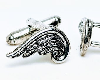 gold angel wing cuff links