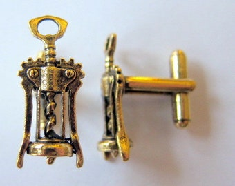 gold wine corkscrew cuff links