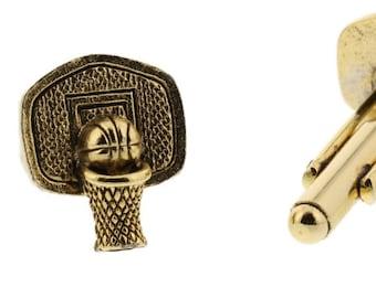 Gold Basketball Hoop Cuff Links