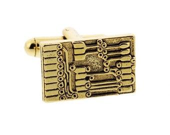 Gold Circuit Board Cuff Links