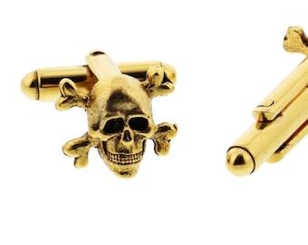Gold Skull and Crossbones Cuff Links