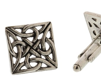 Silver Irish Celtic Knot Cuff Links