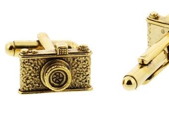 Gold Camera Cuff Links