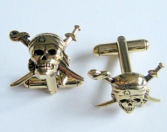 Gold Skull Swords Cuff Links