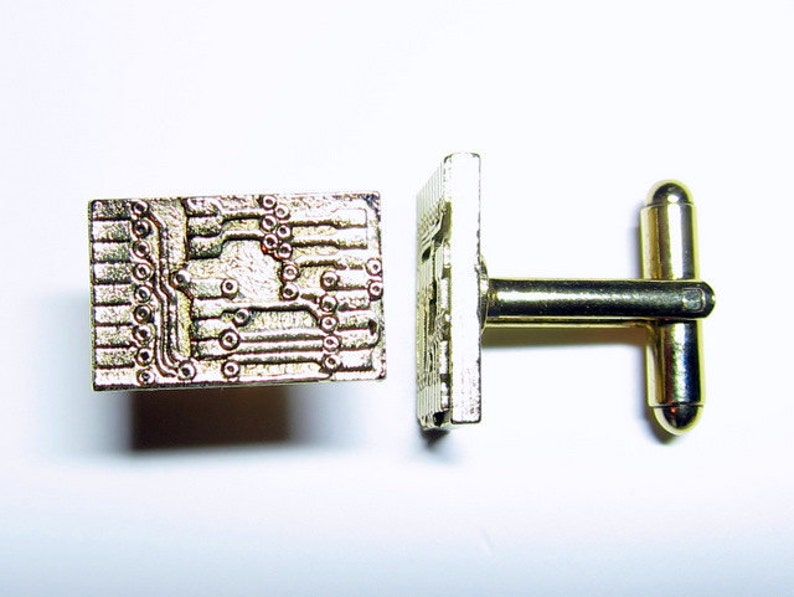 Gold Circuit Board Cuff Links image 0