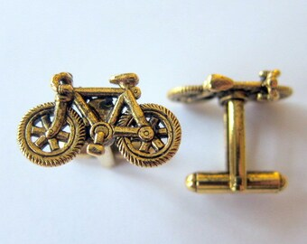 gold bicycle cufflinks