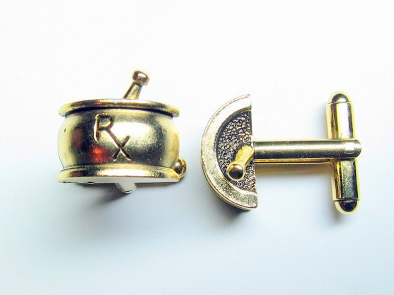 Gold Pharmacy RX Cuff Links image 0