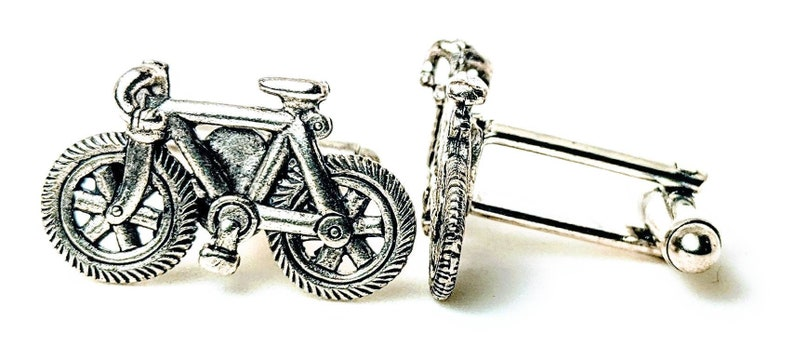 silver bicycle cufflinks image 0